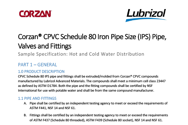 Corzan-CPVC-Potable-Water-Sample-Specs